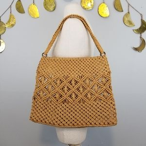 Vintage Boho Woven Wicker Straw Shoulder Bag